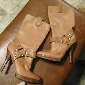 BCBGeneration leather calf length boots in camel